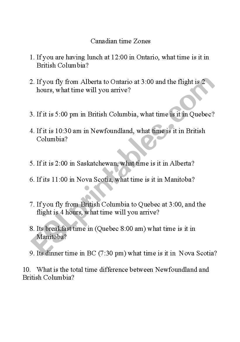 English worksheets: Canadian Time Zones