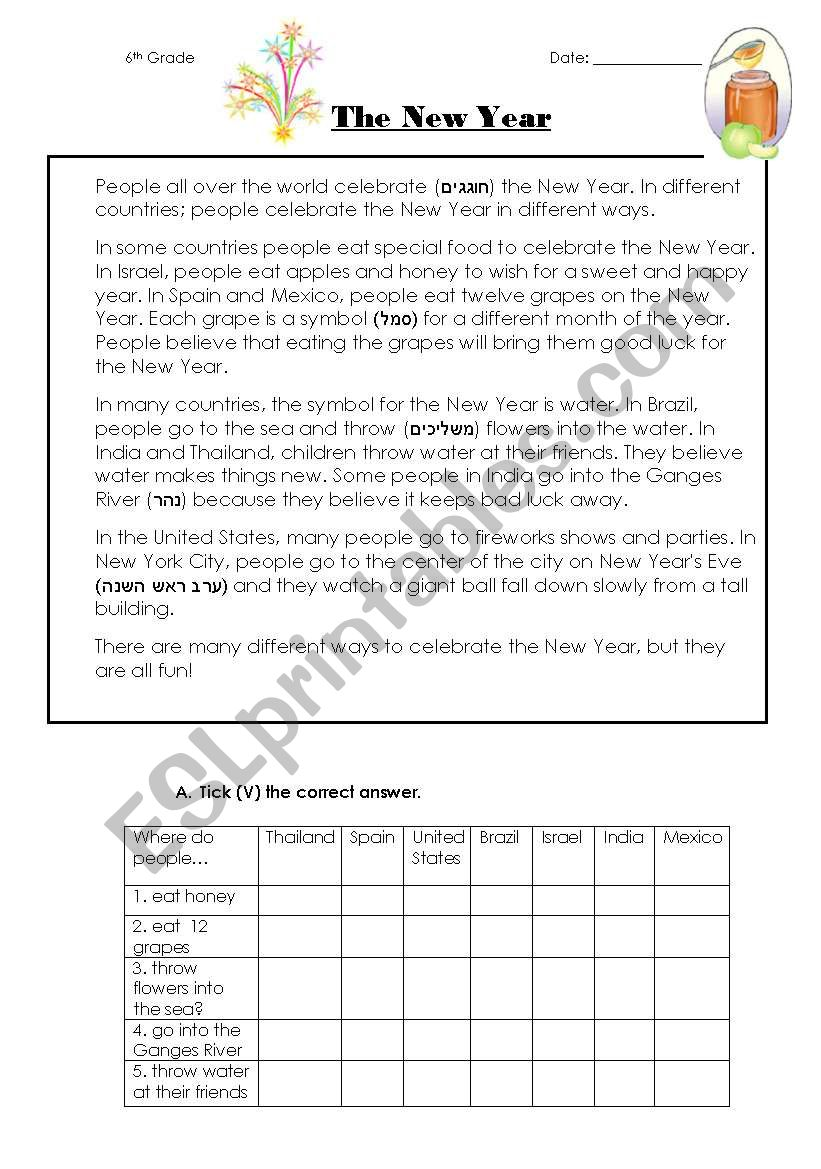 - The New Year-reading Comprehension-2 Pages - ESL Worksheet By Shigoco