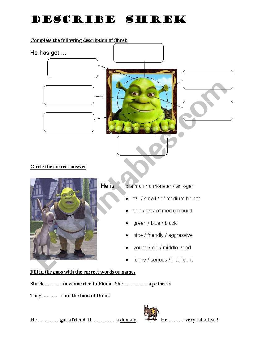 DESCRIBE SHREK worksheet