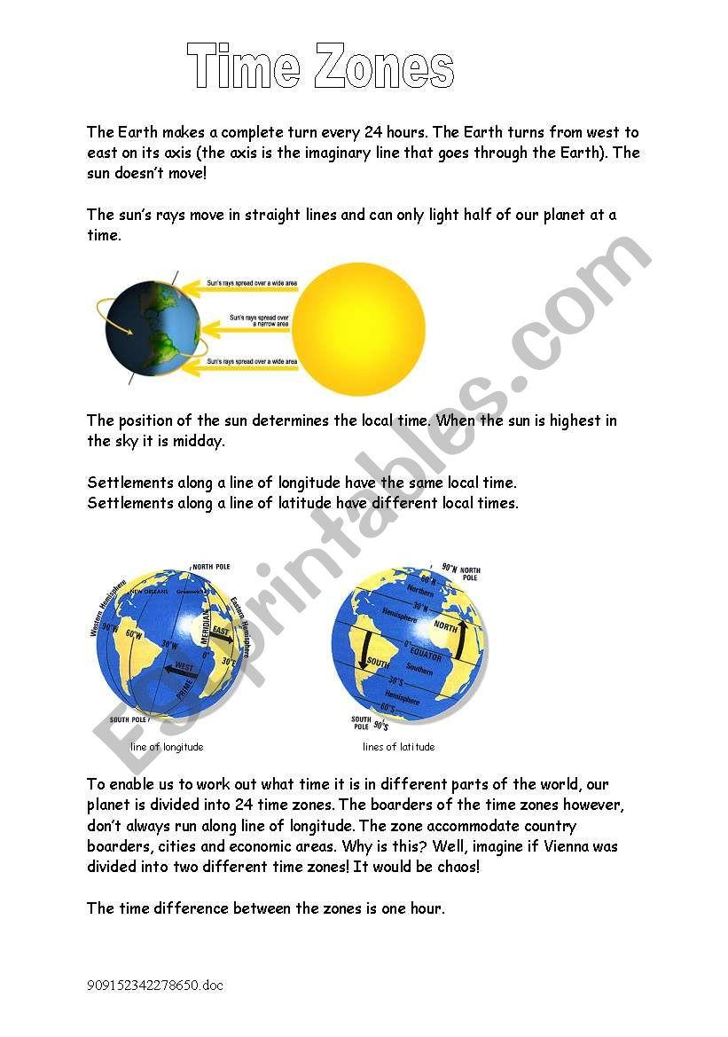 Time Zones Information worksheet