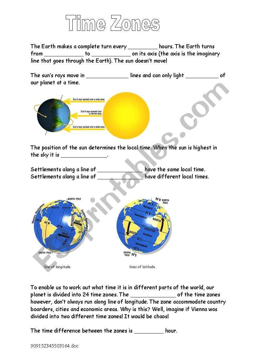 Time Zones - Gap Text worksheet