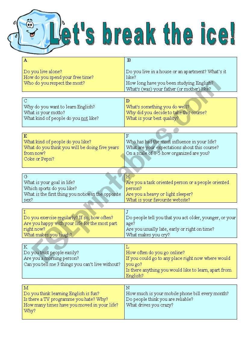 Icebreaker - First class worksheet