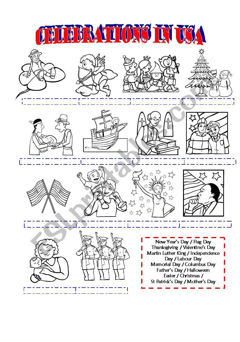 Celebrations in the USA - ESL worksheet by brenes_cyn