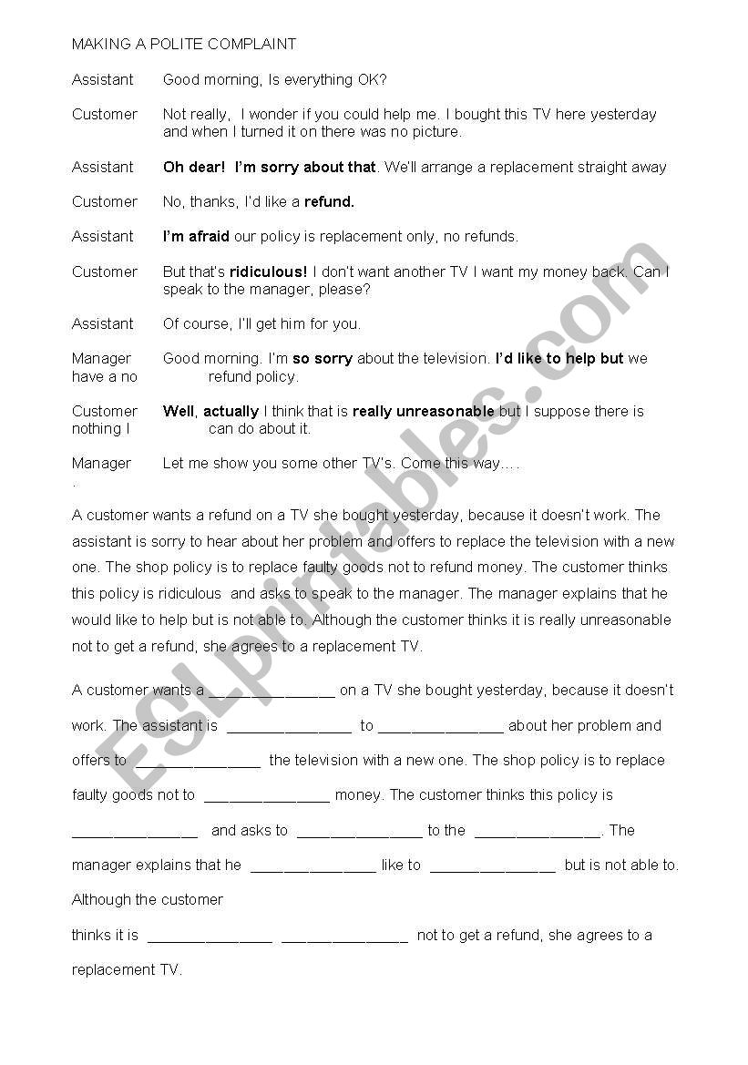 Making a polite complaint worksheet