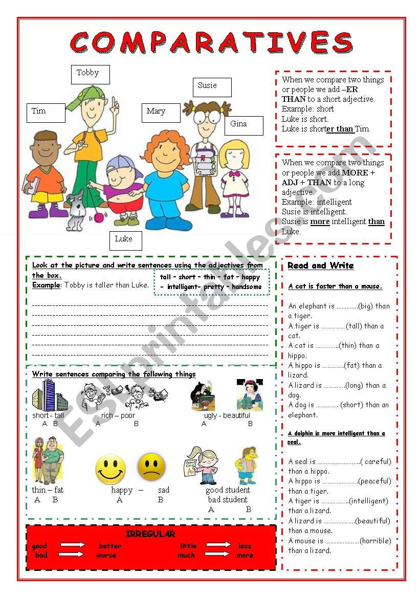 Comparative Adjectives Worksheet Esl - Geotwitter Kids ...