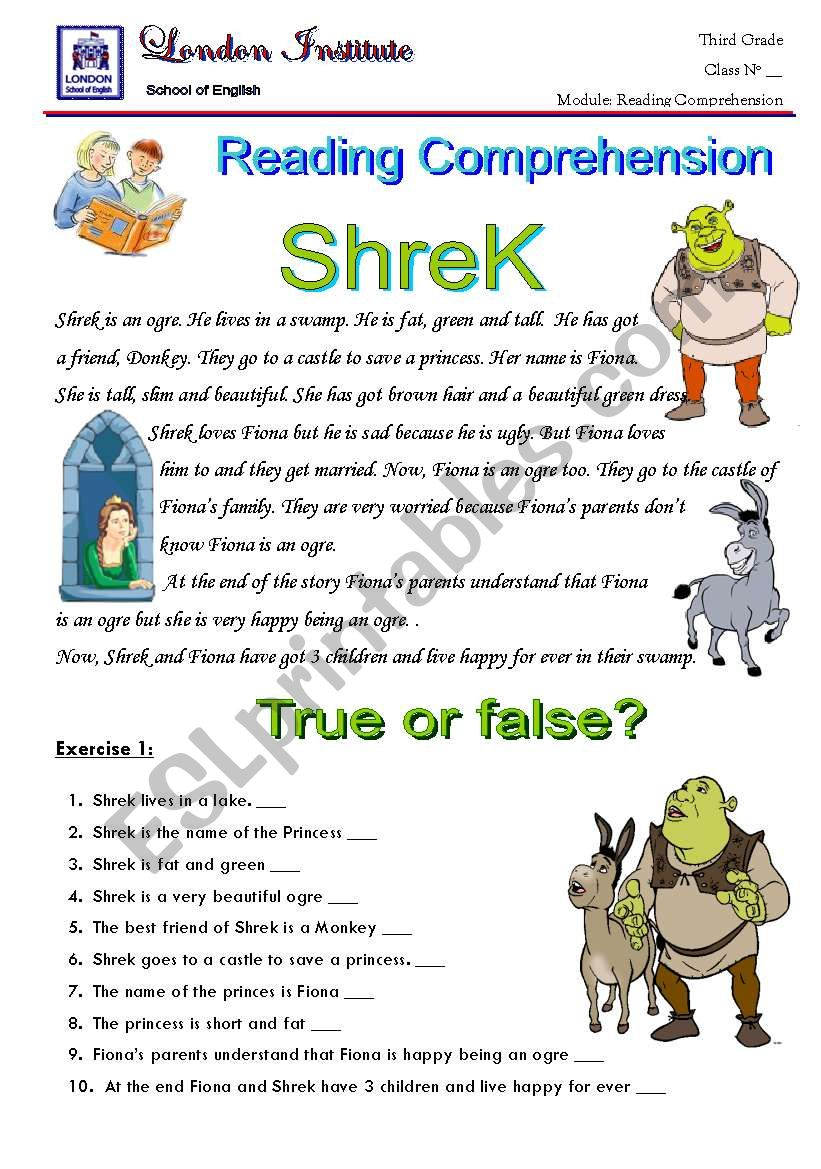 shrek 1 worksheet
