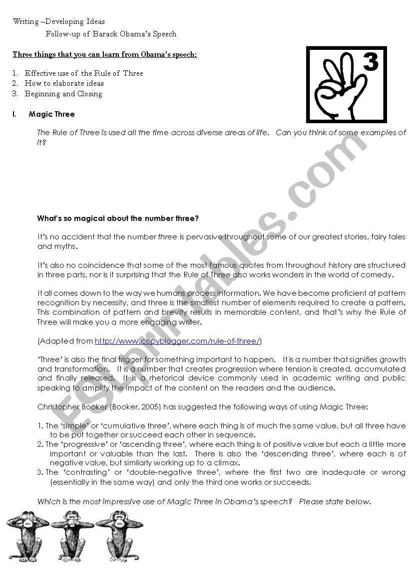 Analysing Obama´s Speech 2 worksheet