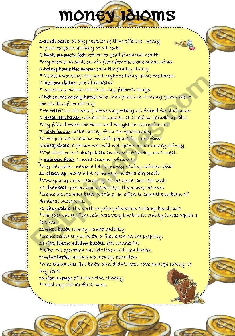 Common Money Idioms worksheet