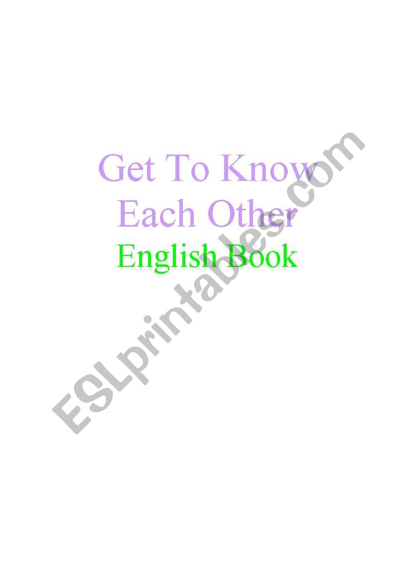 Get to Know Each Other English Books