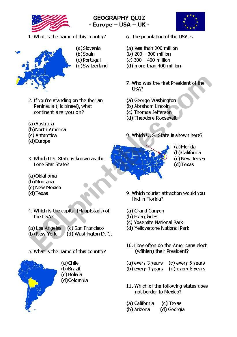 Map Of Texas Quiz.Map Quiz Esl Worksheet By Sandraolli