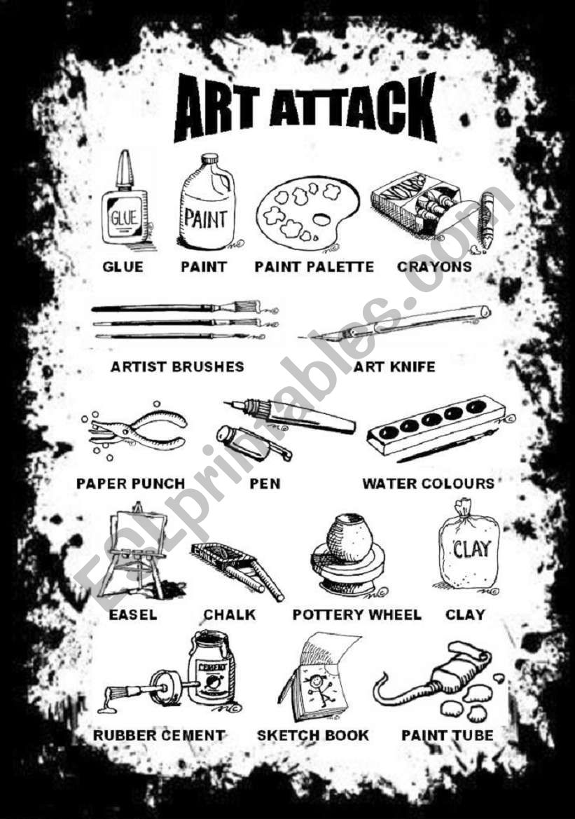 ART ATTACK PICTIONARY I worksheet