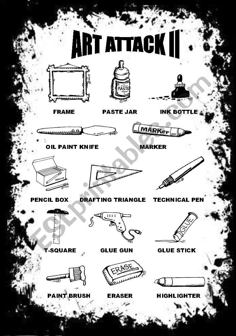 ART ATTACK PICTIONARY II worksheet