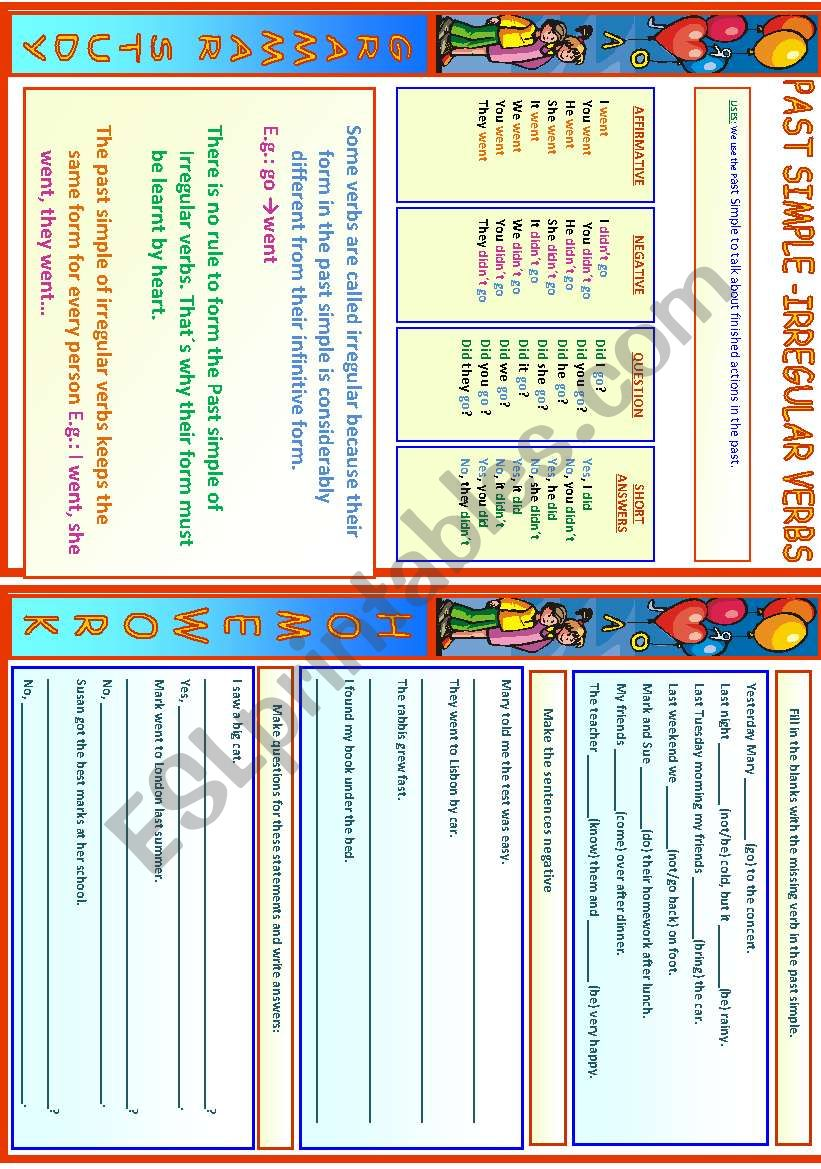Past Simple - Irregular Verbs worksheet