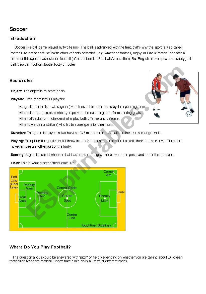 Learning about Soccer worksheet