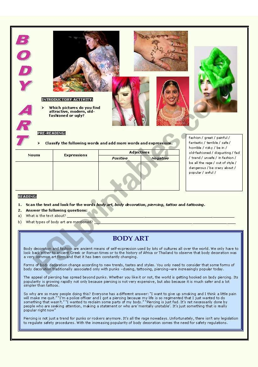 Body Art And Decoration Esl Worksheet By Koronaboreal