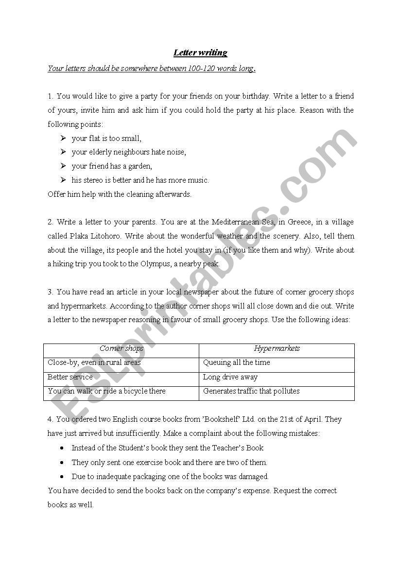 Writing Letters worksheet
