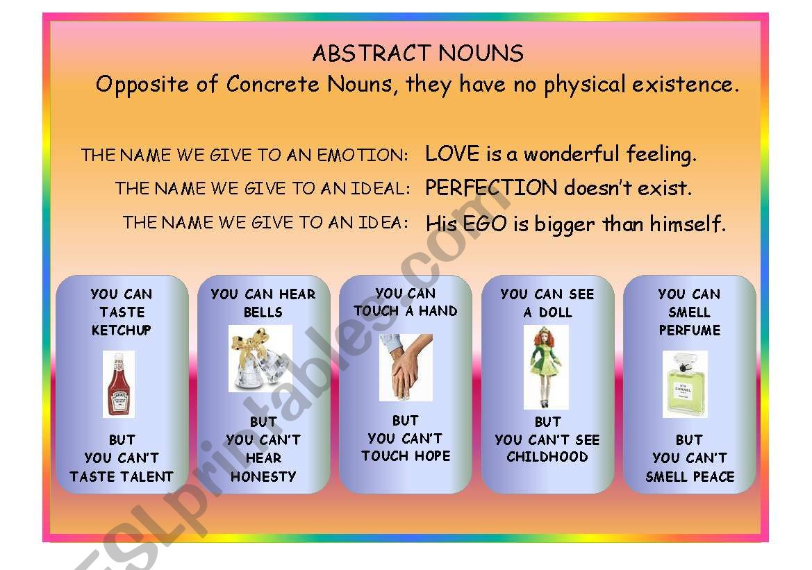 Abstract Nouns worksheet