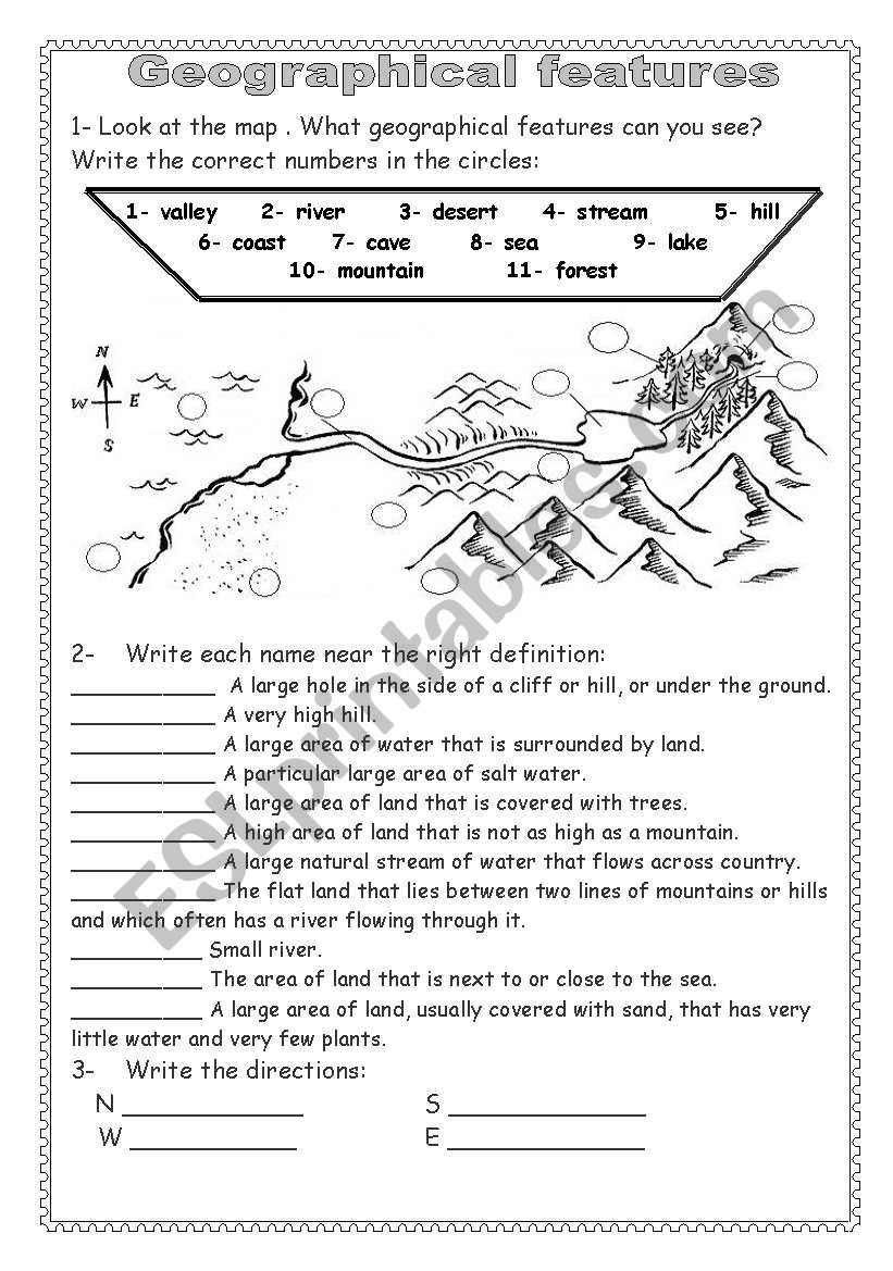 Geographical features( Key answers are included )
