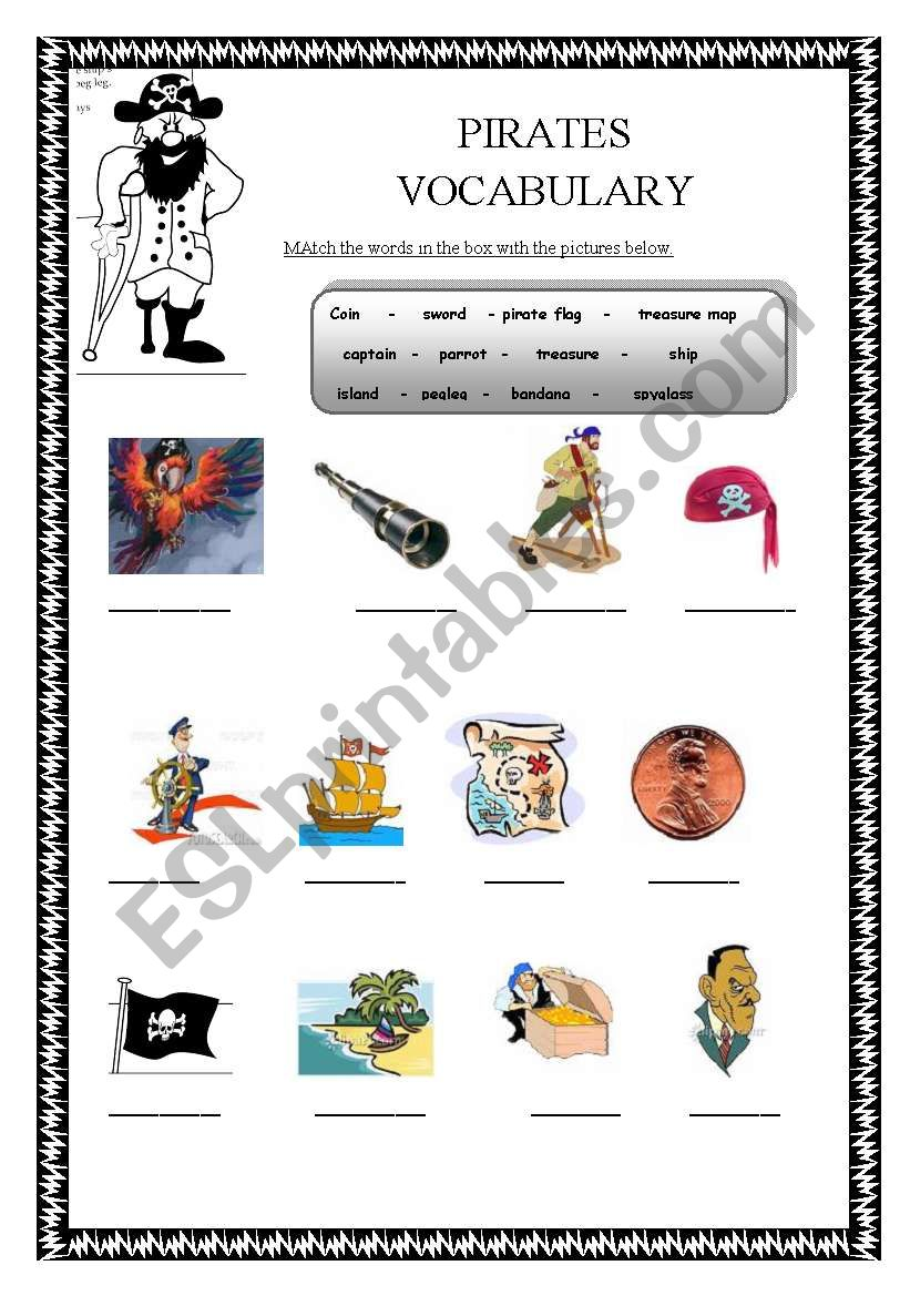 Worksheets For The Pearl : English worksheets pirates vocabulary