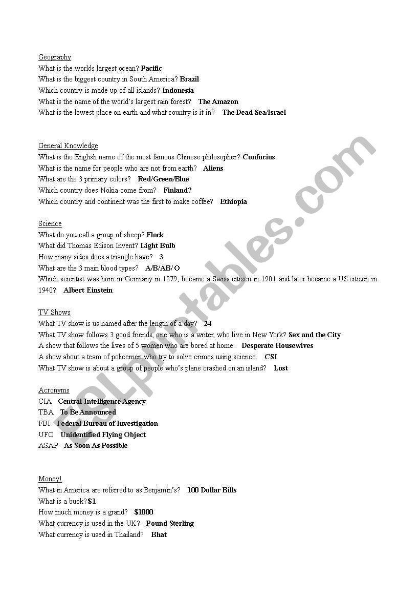 General Knowledge Quiz Show - ESL worksheet by petermowatt