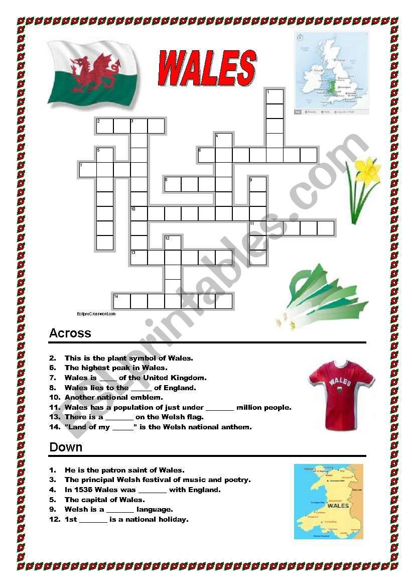 Wales - crossword - ESL worksheet by ildibildi