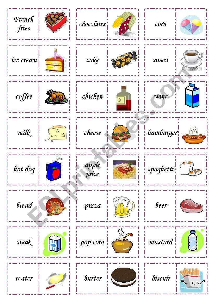 Let´s play dominoes! Set 1: Food