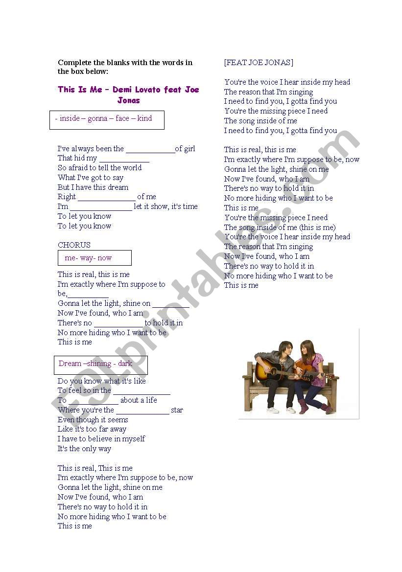 Complete the song - This is me By Demi Lovato feat. Joe Jonas