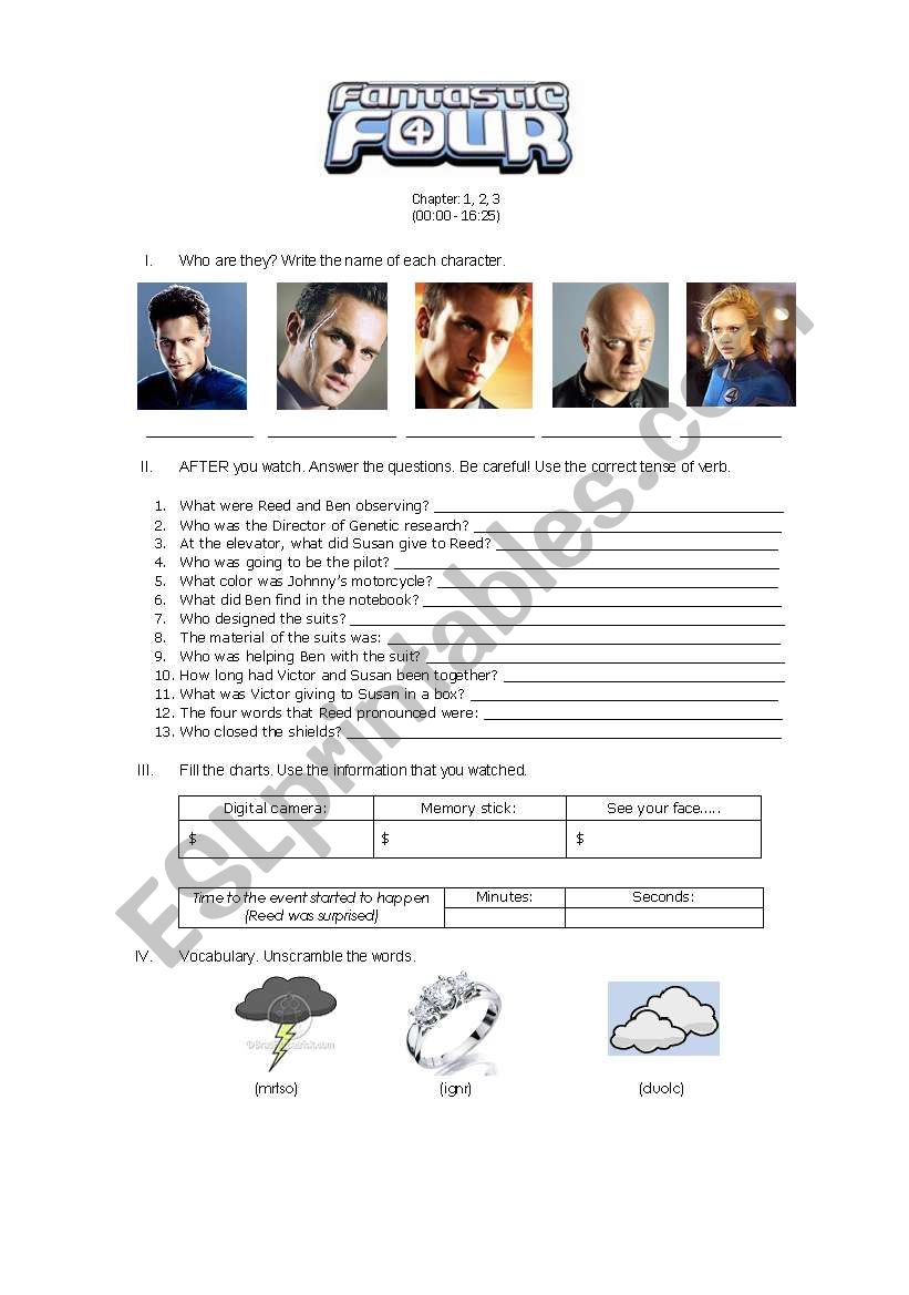 FANTASTIC FOUR worksheet