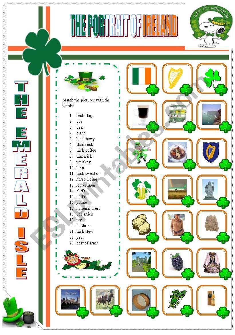 THE PORTRAIT OF IRELAND worksheet