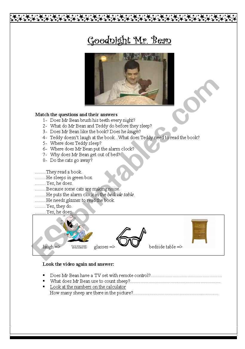 Goodnight Mr. Bean worksheet