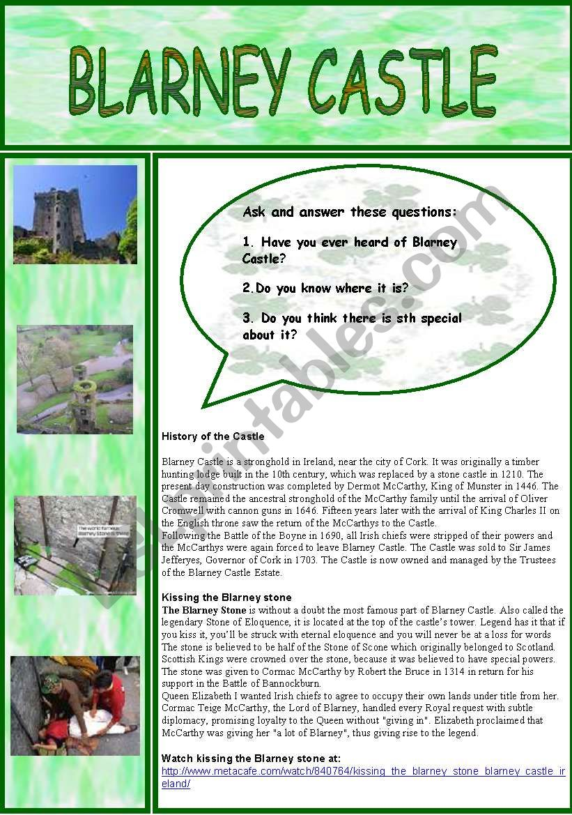 Blarney Castle worksheet