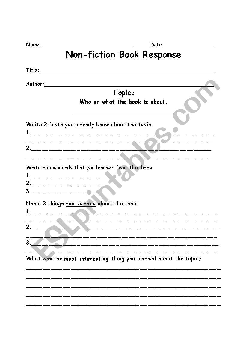English Worksheets Non Fiction Book Report Form