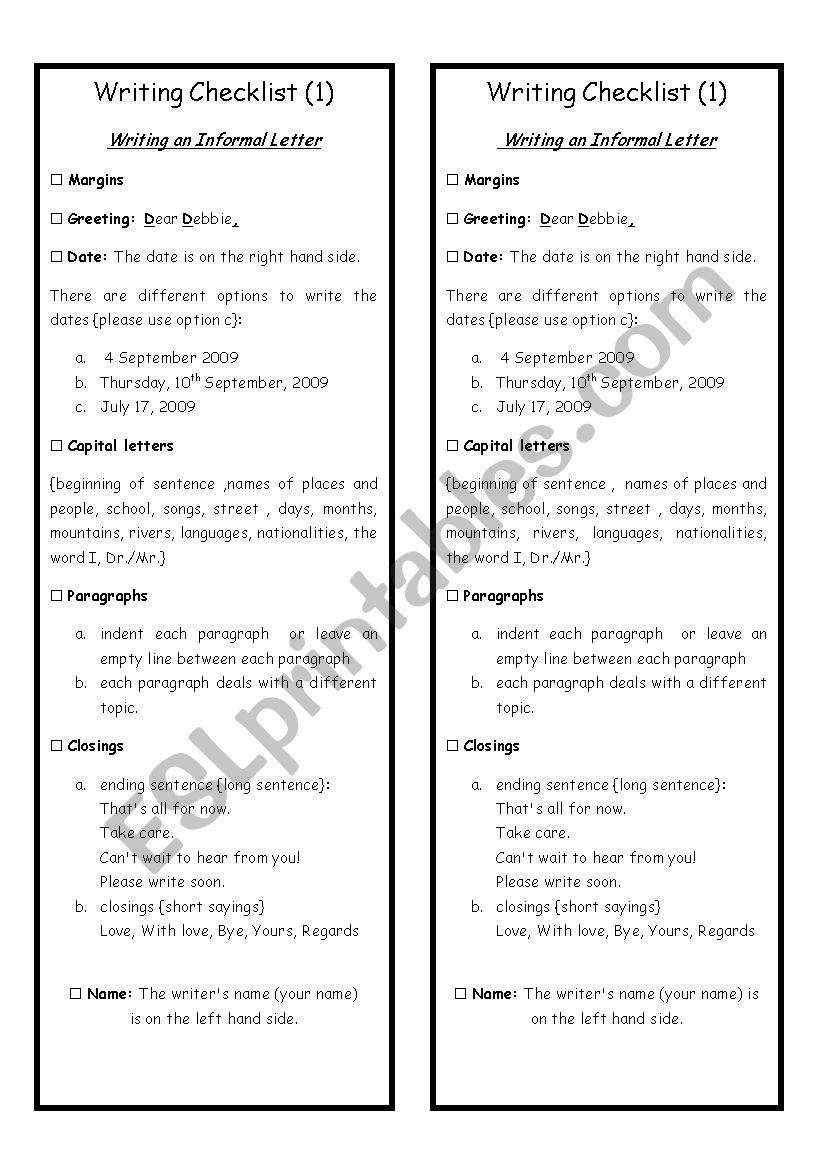 Writing Checklist worksheet