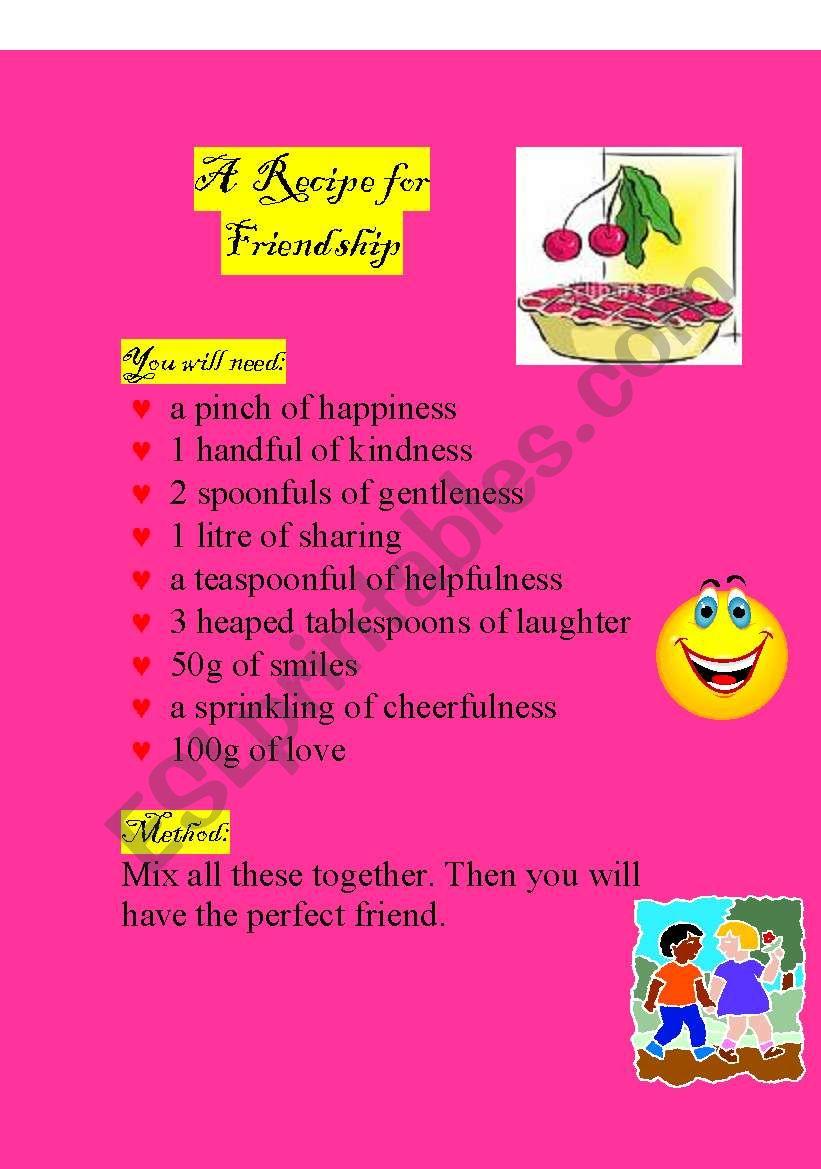 Friendship Recipe Esl Worksheet By Hlya Bilgi
