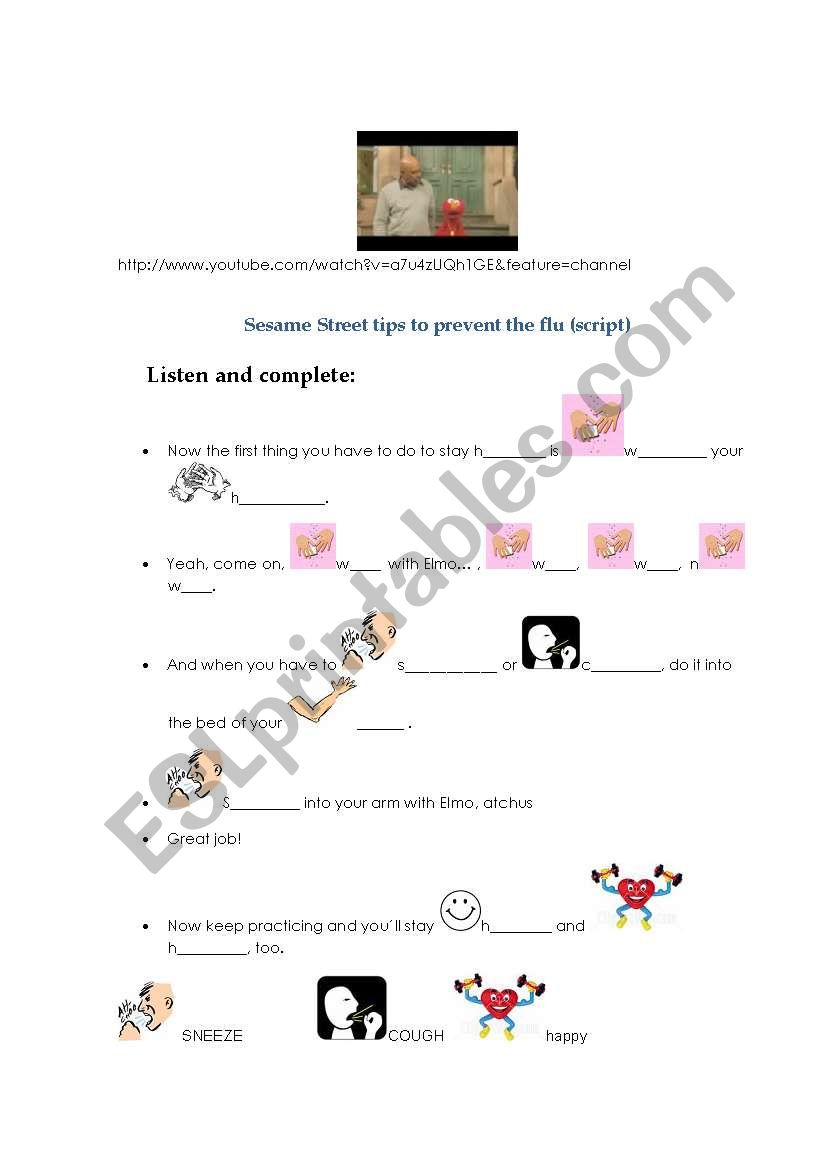 English worksheets: Listen for the Sesame Street Tips to