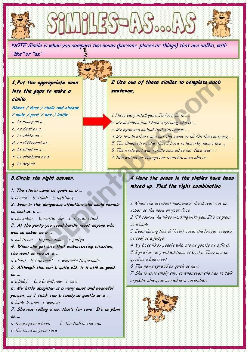 Similes -As ...as 2  worksheet