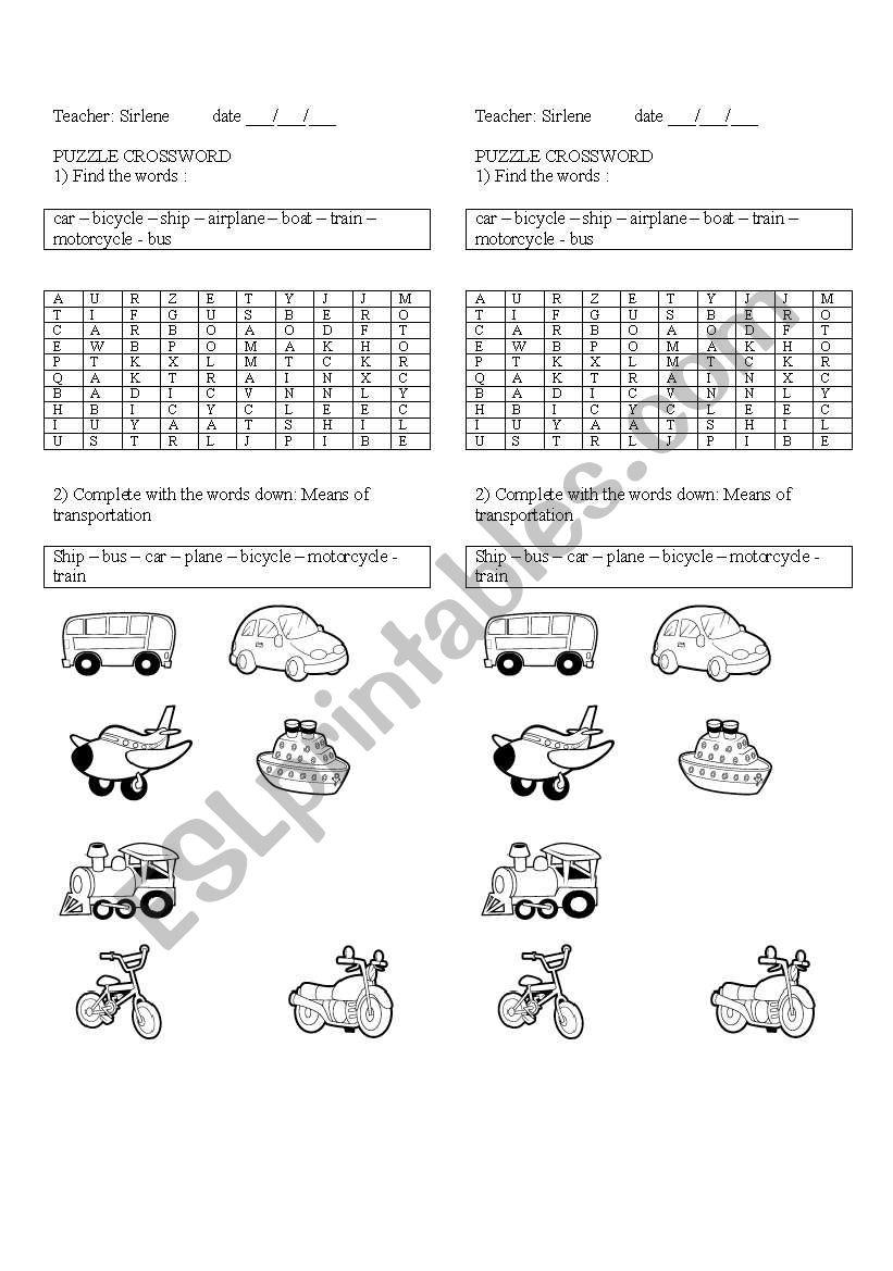 means of transportation worksheet