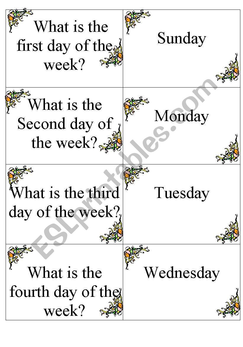 Dominoes DAYS OF THE WEEK worksheet