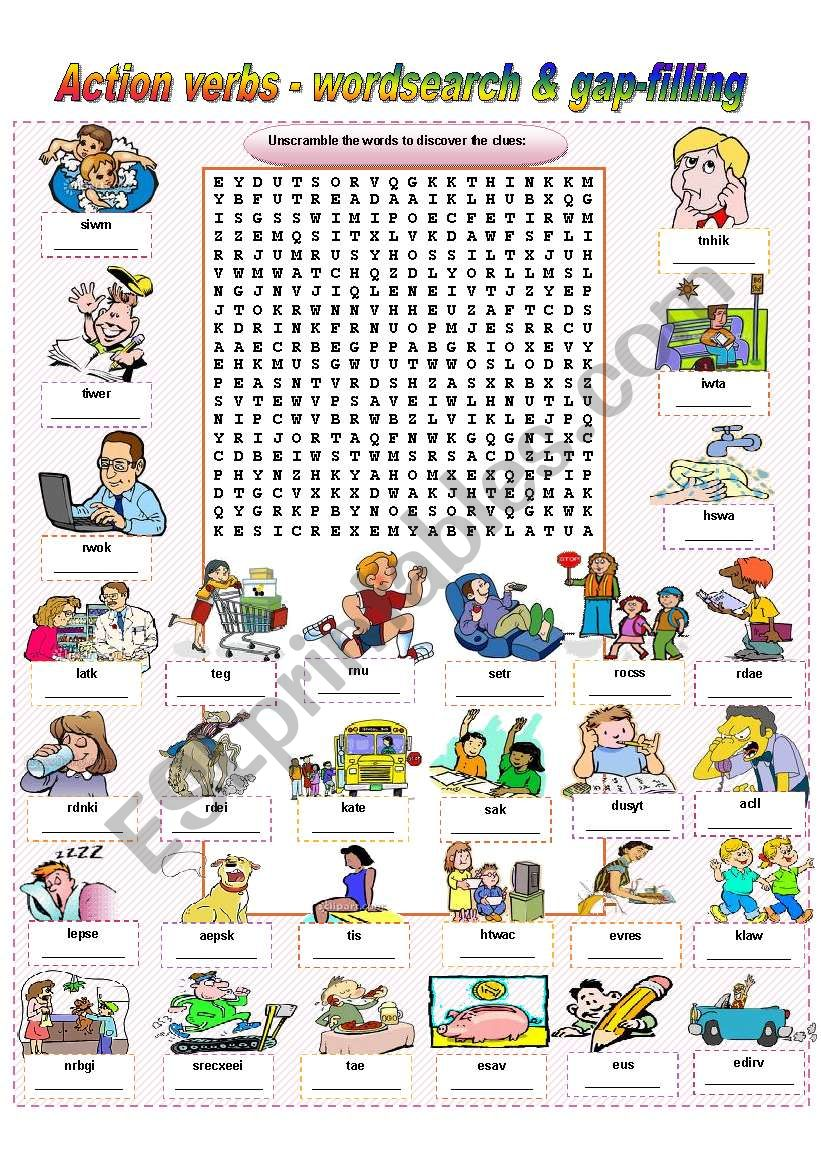 Action Verbs - wordsearch & gap-filling (fully editable / keys included)