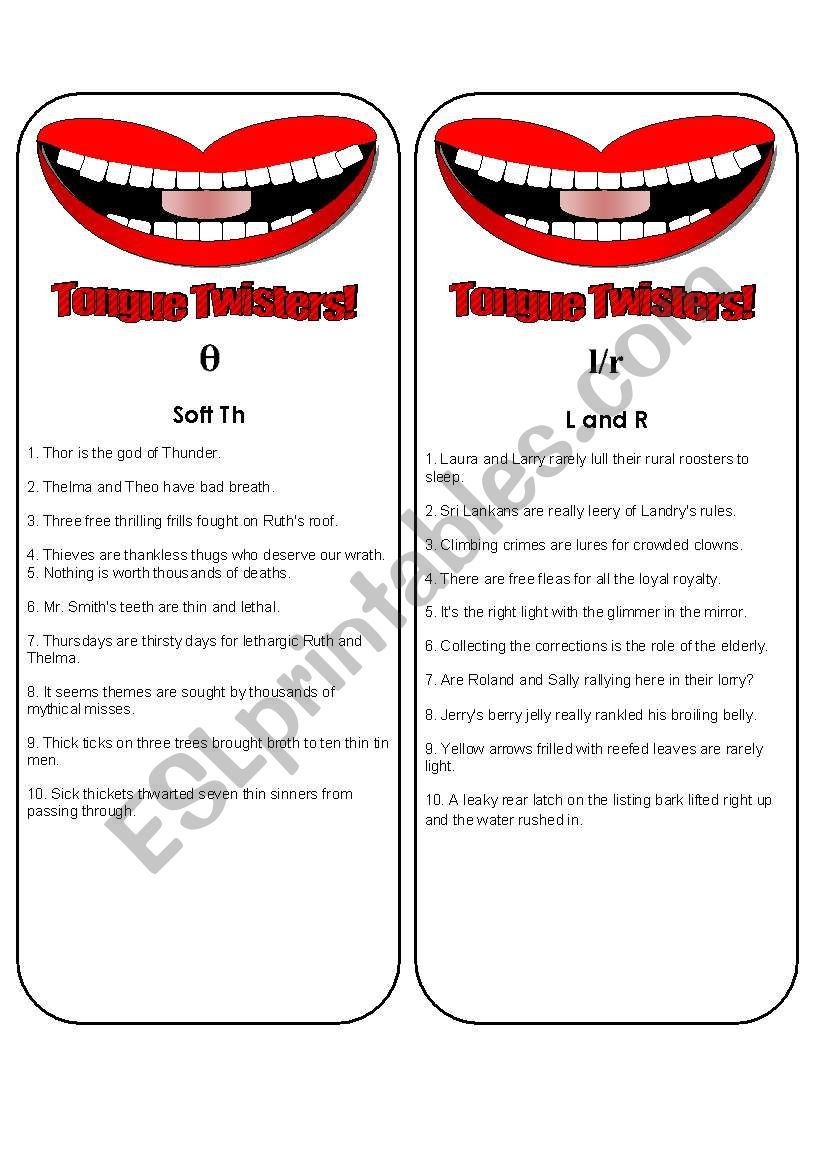 Tongue Twister Bookmarks or Cards (6 pages plus ideas for play) Use them with my mouth gameboard.