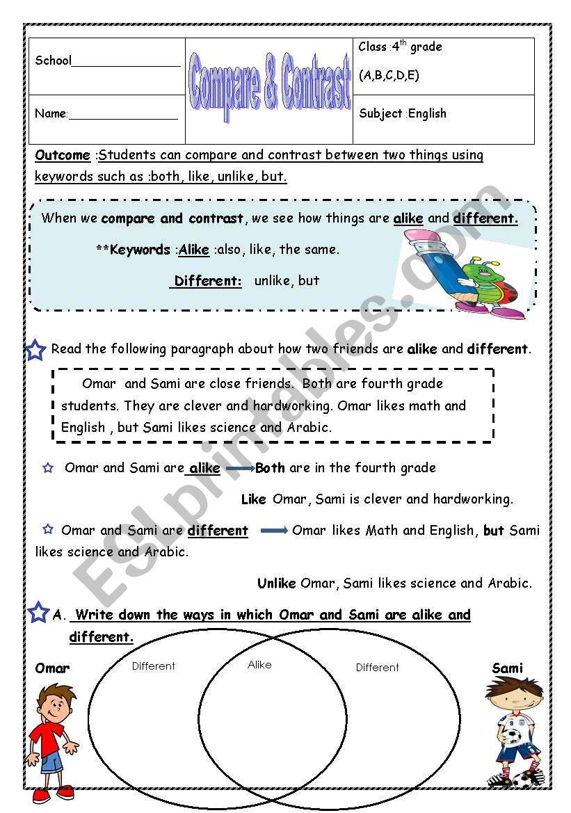 compare & contrast worksheet