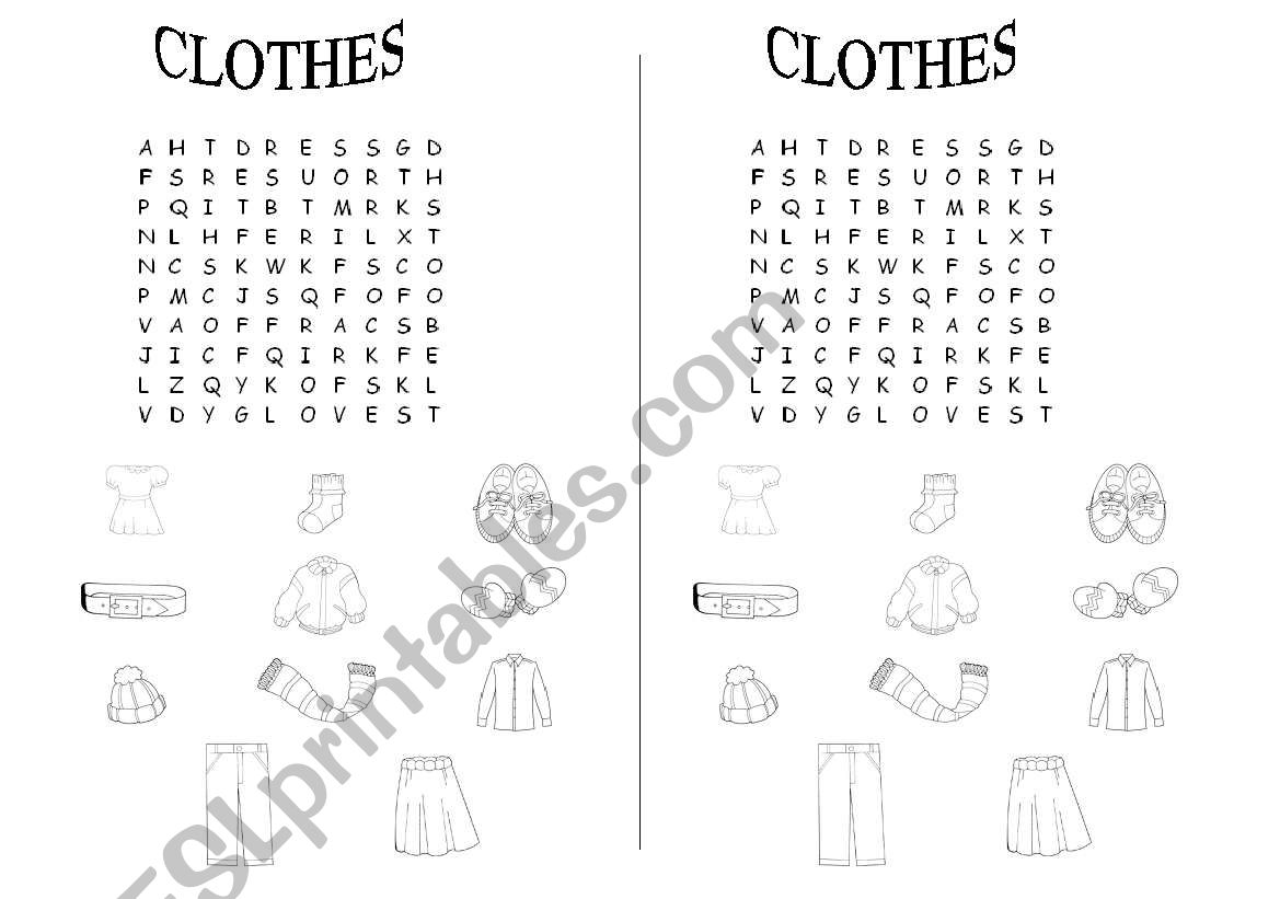 CLOTHES- word searching worksheet