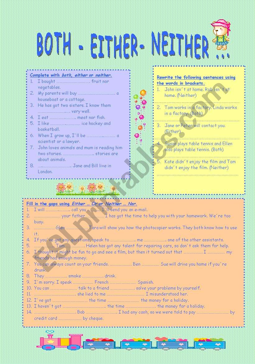 Both Either Or Neither Nor Esl Worksheet By Mjpa