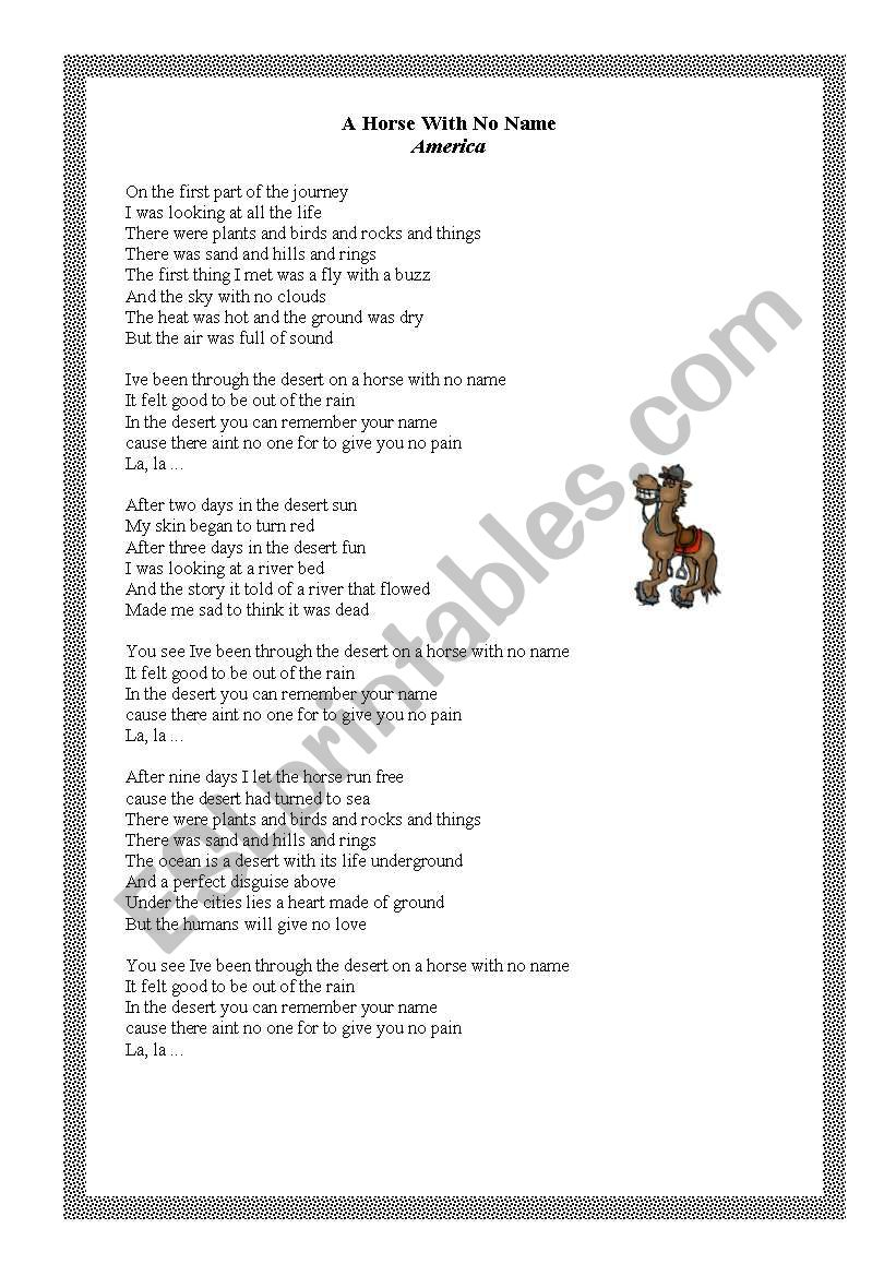 A horse with no name- song! worksheet