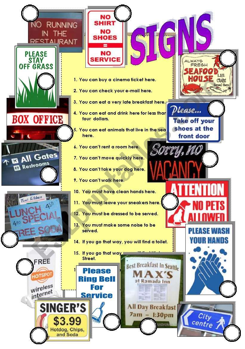 Signs 2 worksheet