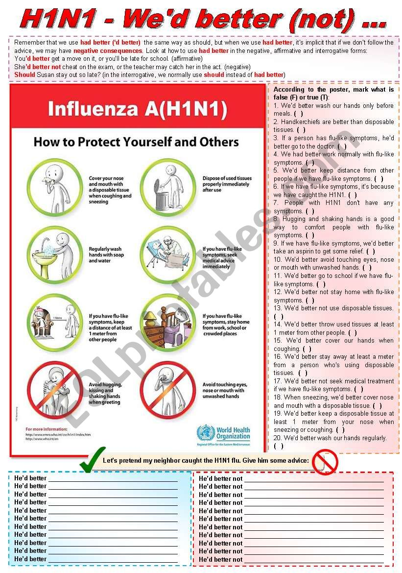 Had better (not) + swine flu (fully editable)