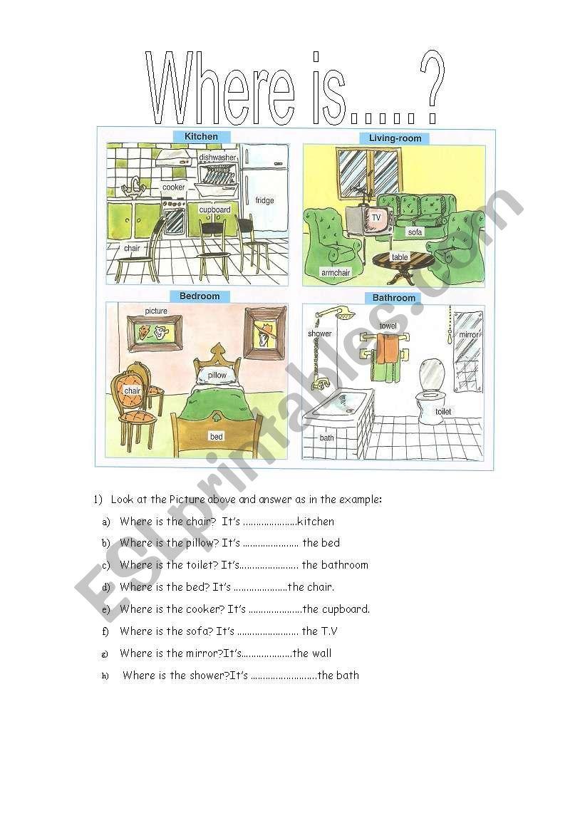 prepositions where is... worksheet