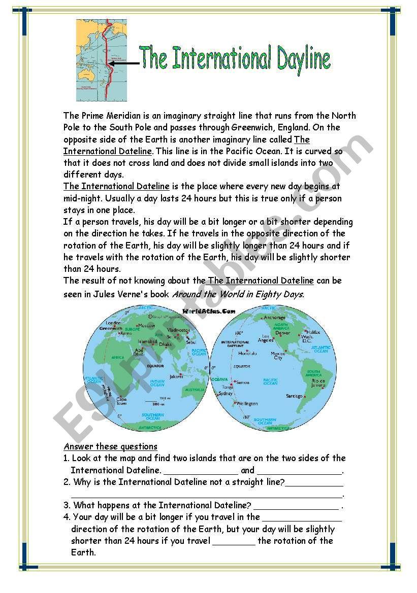 International Date Line Worksheet Image collections - worksheet math ...