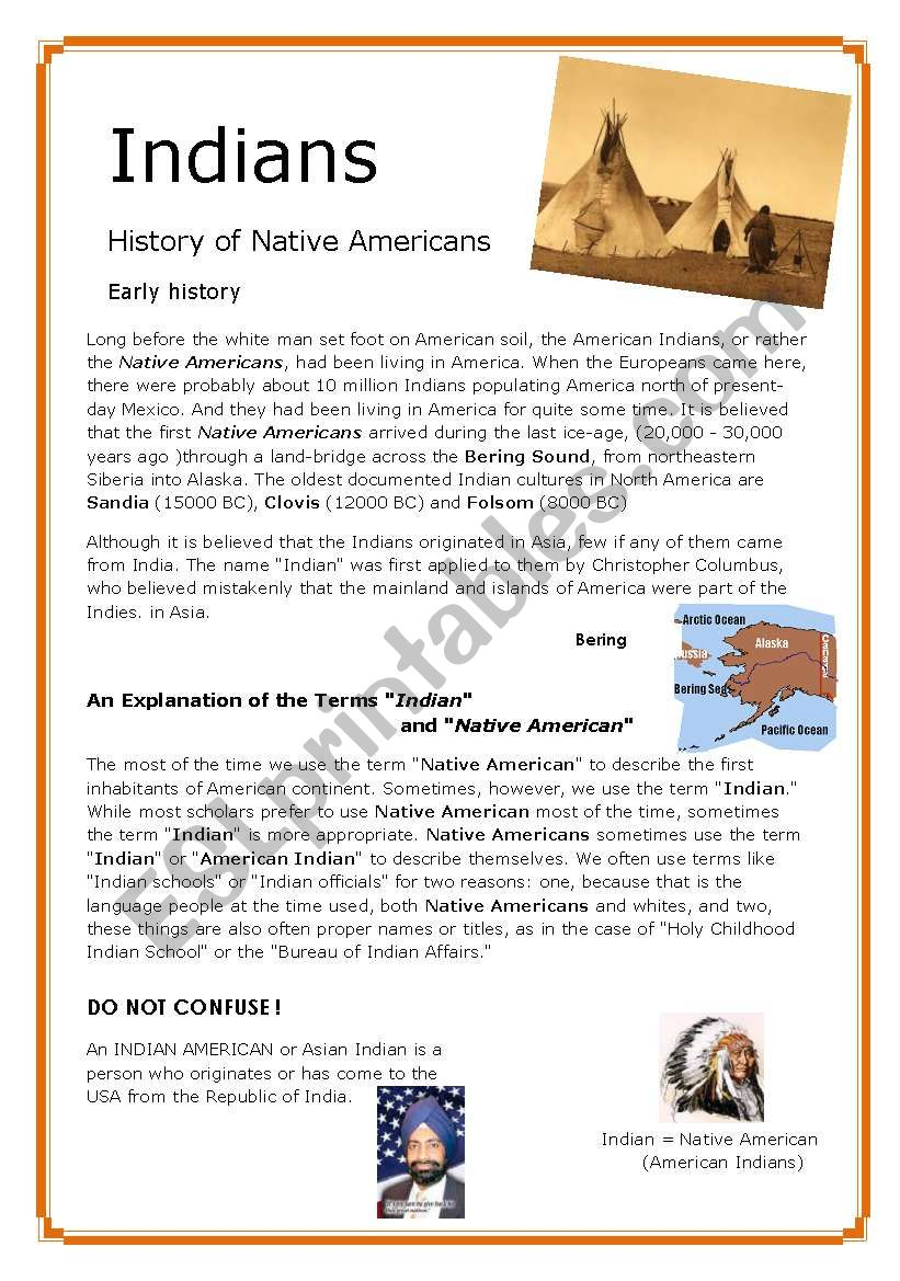 Indians  1/5 - History of Native Americans , the Look (3 pages)