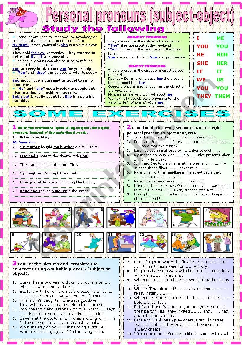 PERSONAL PRONOUNS (SUBJECT AND OBJECT)-GRAMMAR AND EXERCISES-(B&W VERSION INCLUDED)